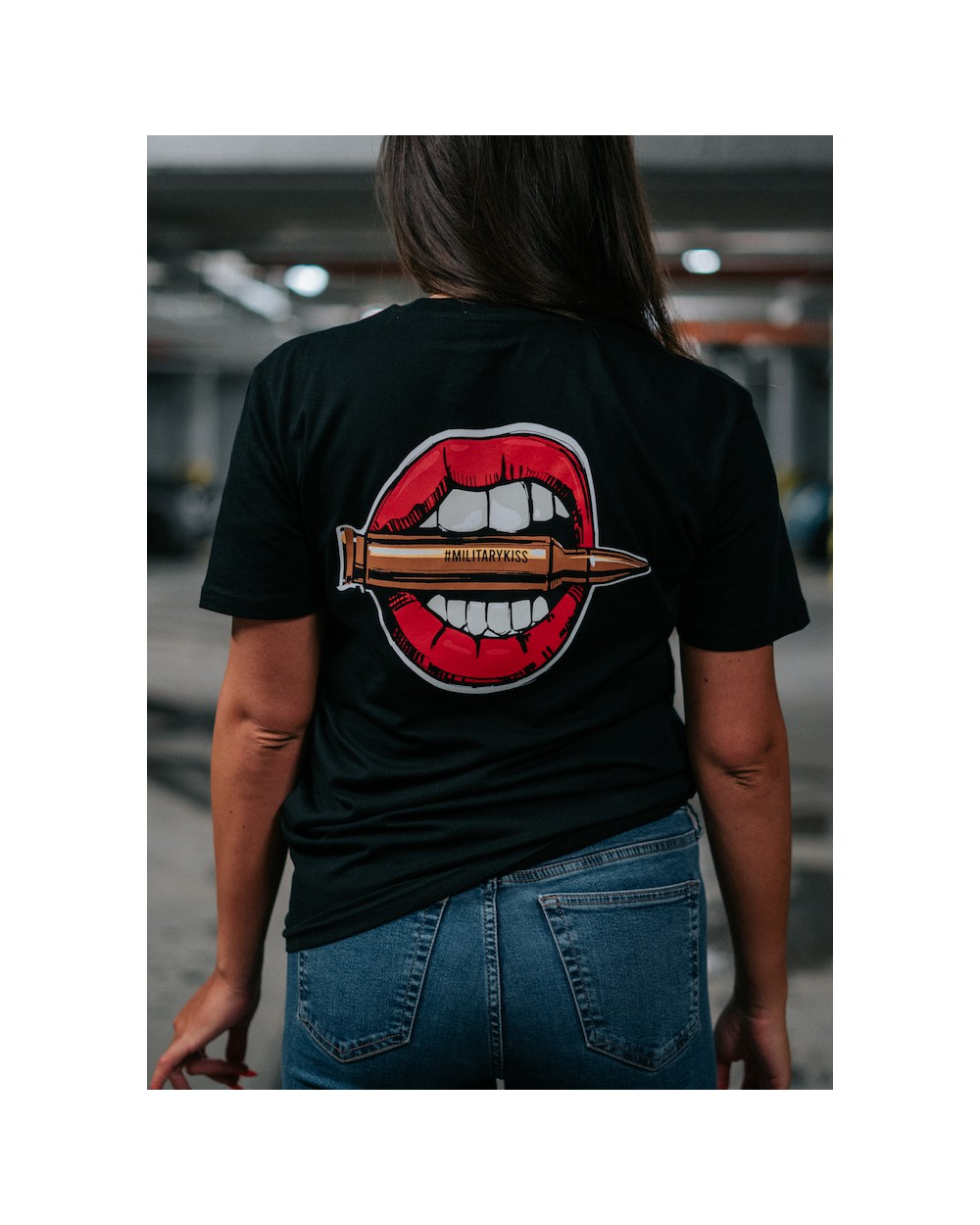 Koszulka z ustami damska