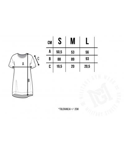 Tabela rozmiarów sukienki t-shirt