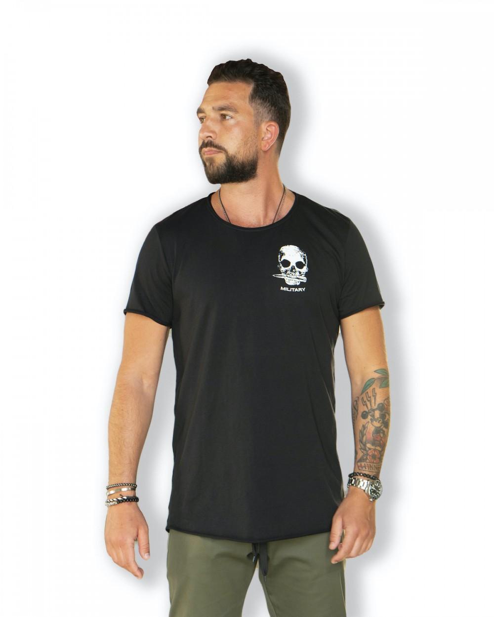 t-shirt czarny z czaszką Military skull